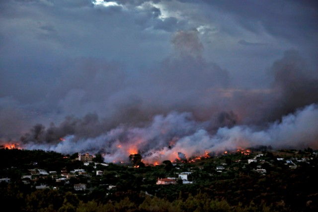 Wildfire burns in Rafina, near Athens