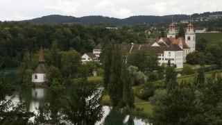 A general view shows the former monastery Rheinau in the the town of Rheinau