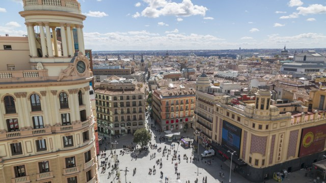 View of Plaza del Calao from elevated position Madrid Spain Europe PUBLICATIONxINxGERxSUIxAUTxONL