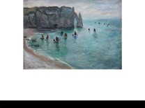 Étretat, la porte d'Aval: bateaux de pêche sortant du port, by Claude Monet