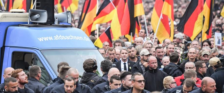 AfD-Politiker Björn Höcke bei einer Demonstration in Chemnitz