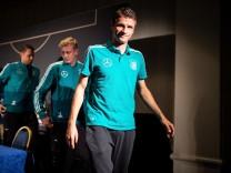 DFB-Team: Thomas Müller nach einer Pressekonferenz