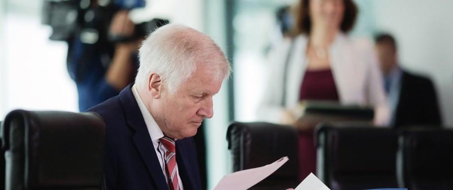Horst Seehofer (CSU) 2018 bei einer Kabinettssitzung
