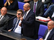 Martin Schulz (SPD) speaks during a session at the lower house of parliament Bundestag in Berlin