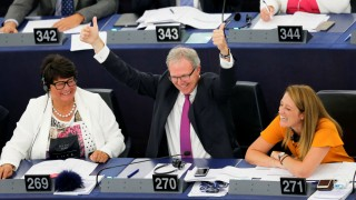 EU-Parlament: Axel Voss 2018 nach der Abstimmung zum Leistungsschutzrecht
