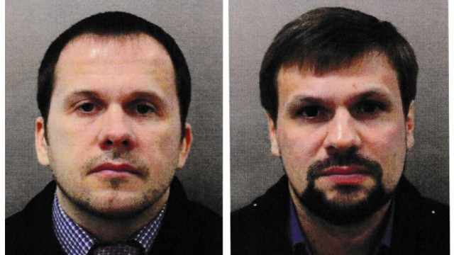 FILE PHOTO: Alexander Petrov and Ruslan Boshirov, who were formally accused of attempting to murder former Russian intelligence officer Sergei Skripal and his daughter Yulia in Salisbury, are seen in an image handed out by the Metropolitan Police in Londo