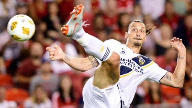 TORONTO ON SEPTEMBER 15 Zlatan Ibrahimovic 9 of LA Galaxy scores a goal during the first half