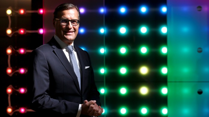 CEO of lamp manufacturer Osram Berlien poses during opening of company 'World of light' showroom in Munich