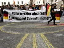 Right-Wing And Counter Demonstrators Protest In Koethen Following Death Of German Man