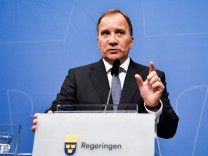 Prime Minister and Social Democratic Party leader Stefan Lofven attends a news conference at the government headquarters Rosenbad in Stockholm