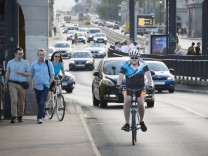 May 11 2018 Warsaw Poland A cyclist is seen during rush hour traffic on Jerusalem Avenue in Wa