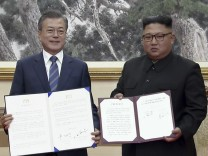 Kim Jong-un und Moon Jae In beim Korea-Gipfel 2018 in Pjöngjang