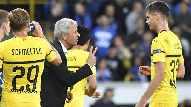 BVB-Trainer Lucien Favre beim Champions-League-Spiel 2018 gegen Brügge