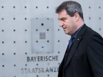 CSU-Ministerpräsident Markus Söder vor der Staatskanzlei