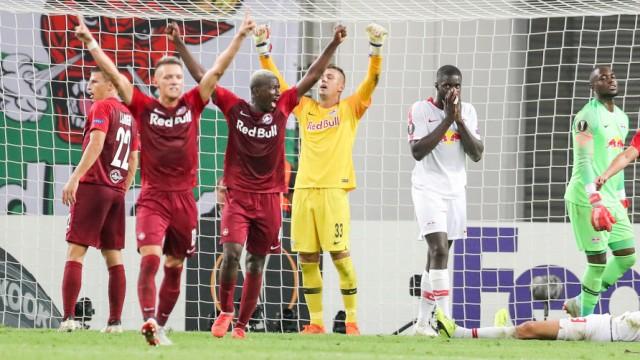 RB Leipzig gegen RB Salzburg: Jubel nach dem Abpfiff