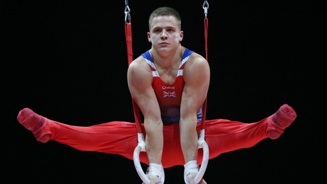 Pavel Karnejenko GBR during team final at 2018 European Juniors Artistics Championships in Glasgow