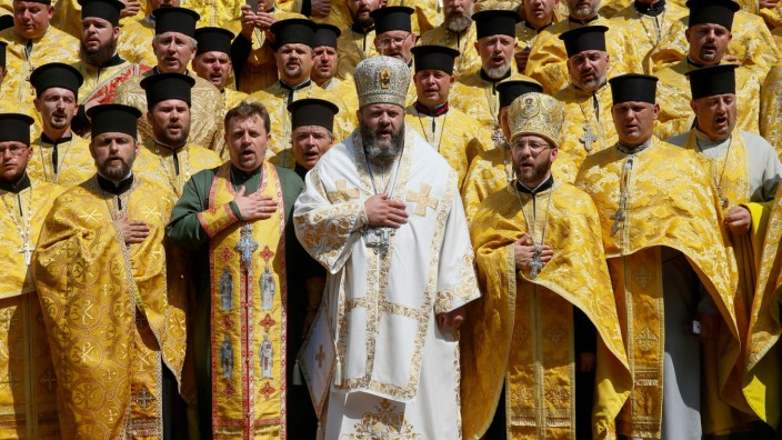 FILE PHOTO: Clergymen of Ukrainian Orthodox Church of the Kiev Patriarchate take part in a ceremony marking the anniversary of the Christianisation of the country in Kiev