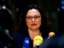 Andrea Nahles, leader of Social Democratic Party (SPD), addresses the media in Berlin