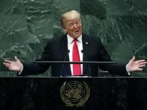 Donald Trump, Präsident der USA, spricht vor der 73. Generalversammlung der Vereinten Nationen im UN-Hauptquartier.