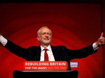 Britain's Labour Party leader Jeremy Corbyn delivers his keynote speech at the Labour Party Conference in Liverpool