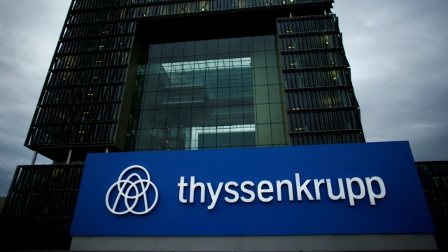 FILE PHOTO: A logo of ThyssenKrupp AG is pictured outside their headquarters in Essen