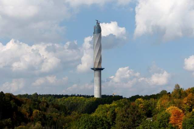 Thyssenkrupp's elevator test tower is pictured in Rottweil