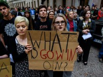 June 13 2018 Krakow Poland Two female students seen holding a placard during the demonstration