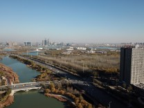 171116 YINCHUAN Nov 16 2017 Aerial photo taken on Nov 14 2017 shows the scenery of the