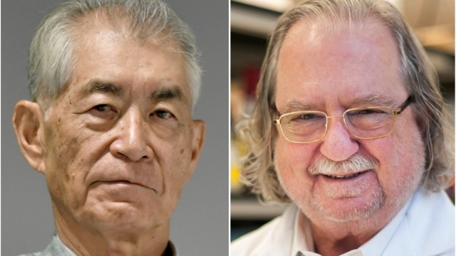 A combination photo shows Ph.D. James P. Allison of MD Anderson Cancer Center and Kyoto University Professor Tasuku Honjo in Kyoto