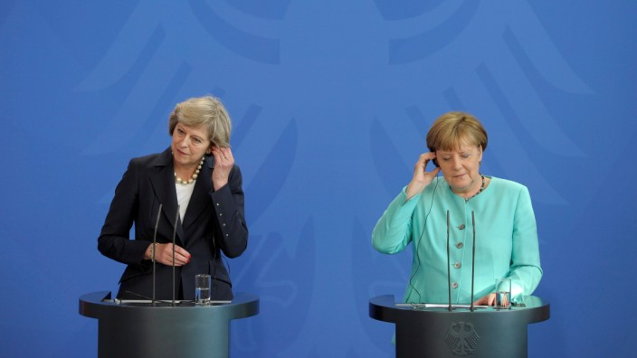 German Chancellor Merkel and British Prime Minister May address news conference in Berlin