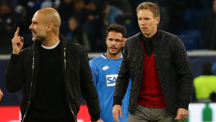 Sinsheim Fußball Champions League TSG Hoffenheim vs Manchester City von links Pep Guardiola; Pep Guardiola Julian Nagelsmann