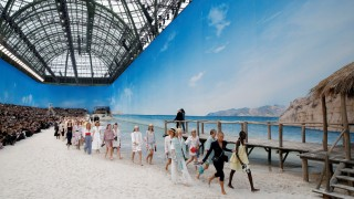 Models present creations by German designer Karl Lagerfeld as part of his Spring/Summer 2019 women's ready-to-wear collection show for fashion house Chanel during Paris Fashion Week