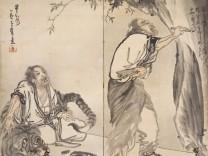 Kanzan, Jittoku und der Tiger  Nagasawa Rosetsu (1754-1799)  1794-1799, zweiteiliger Stellschirm, Tusche auf Papier, Tokyo National Museum