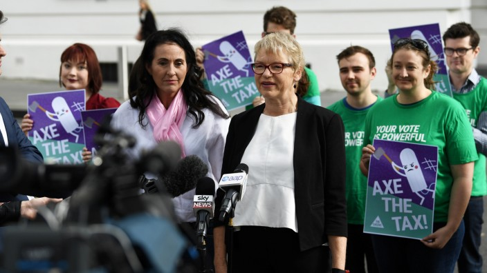 Victorian Greens Senator Janet Rice addresses the media outside the Commonwealth Parliament Offices in Melbourne