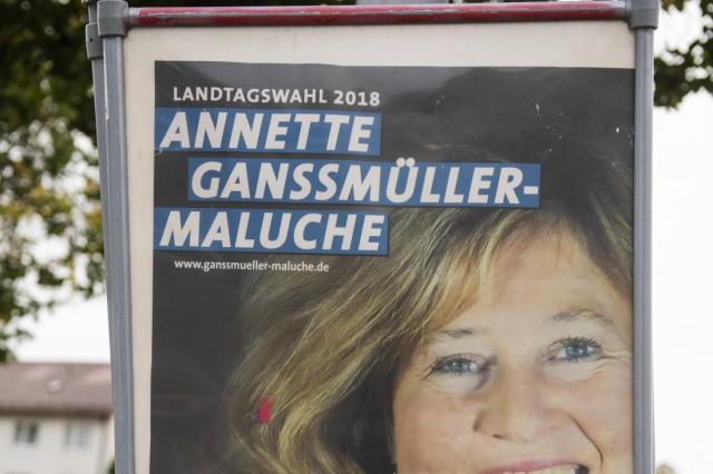 Landkreis München, Wahlplakate zur Landtagswahl, Haar, Annette Ganssmüller-Maluche,