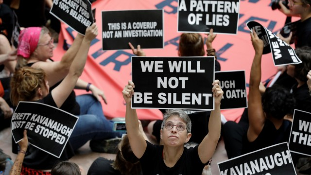 Activists rally inside Senate Hart Office Building during protest in opposition to U.S. Supreme Court nominee Kavanaugh on Capitol Hill in Washington