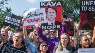 Protest against US Supreme Court nominee Brett Kavanaugh outside Washington courthouse