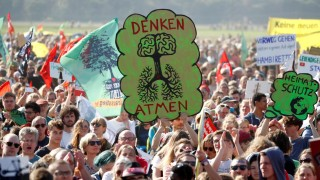 People protest for the preservation of the ancient forest 'Hambacher Forst' near the western German town of Kerpen-Buir west of Cologne