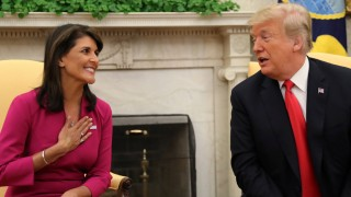 U.S. President Trump meets with outgoing U.N. Ambassador Haley in the Oval Office of the White House in Washington