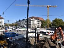 Die Baustelle am Sendlinger-Tor-Platz in München.