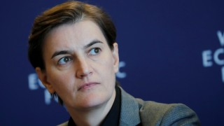 Ana Brnabic Prime Minister of Serbia attends a news conference after the Strategic Dialogue of the Western Balkans meeting at the World Economic Forum (WEF) in Cologny