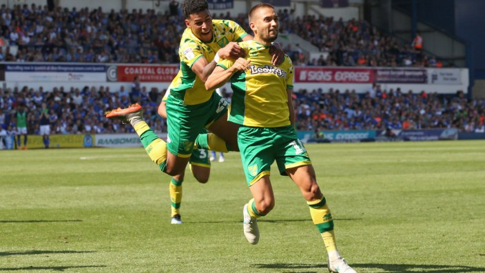 Ipswich Town v Norwich City Sky Bet Championship Moritz Leitner of Norwich celebrates scoring his si; Moritz Leitner - Fußball