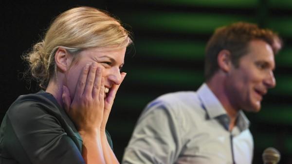 Katharina Schulze und Ludwig Hartmann von den Grünen bei der Landtagswahl Bayern