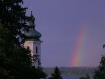 sommerbild regenbogen st. Joseph in  Tutzing  Pfarrer Peter Brummer Tutzing