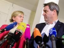 Die Grünen-Spitzenkandidatin Katharina Schulze und Ministerpräsident Markus Söder nach den Sondierungen.