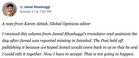 Letzte Kolumne von Jamal Khashoggi in der Washington Post