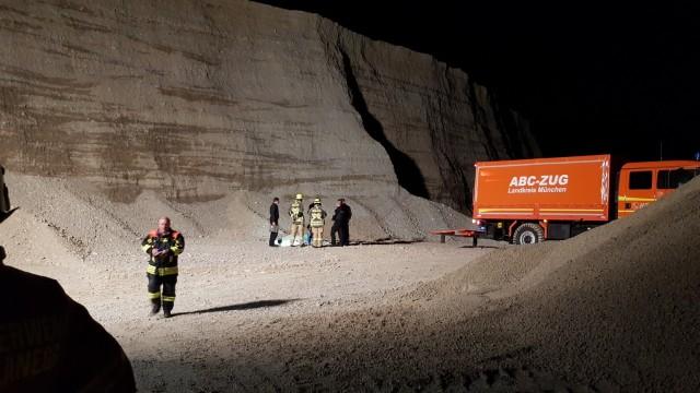 Sprengung in Kiesgrube Fürstenrieder Straße Planegg, Freiwillige Feuerwehr Planegg