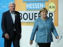 Merkel And Bouffier Give Statements Following CDU Meeting