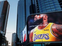 Advertising displays of NBA basketball star LeBron James in downtown Los Angeles
