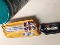 A handout picture of a package containing a 'live explosive device' according to police, received at the Time Warner Center, which houses the CNN New York bureau, in New York